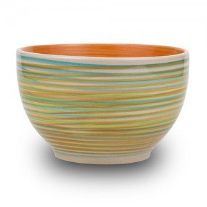 """Μπολ δημητριακών stoneware """"Lines orange"""" 14cm 10-141-004"""