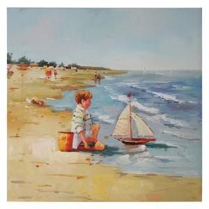 "Trimar(503-401) Πίνακας-Καμβάς ""Αγοράκι στην παραλία"" (60χ60)"
