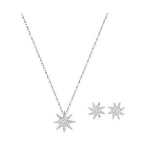 Swarovski Σετ Κολιέ-Σκουλαρήκια Αστέρι Επιπλατινωμένο με πέτρες,Fizzy Set Small(5253054)