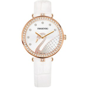 SWAROVSKI AILA DRESSY LADY SWAN WATCH, LEATHER STRAP, WHITE, ROSE GOLD TONE 5376639