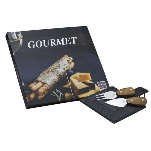 Πλατώ Πέτρινο Τυριών Με Σετ Μαχαιριών Gourmet HFA (5460001)