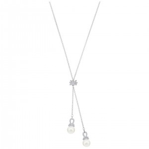 Swarovski Κολιέ Επιπλατινωμένο Με Λευκές Πέρλες Originally Y Necklace, White, Rhodium plating, 5467313
