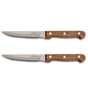 """Aνοξείδωτο ατσάλινο μαχαίρι κρέατος """"Terrestrial"""" με ξύλινη λαβή σετ 2τεμ. 21.5cm 10-058-047"""