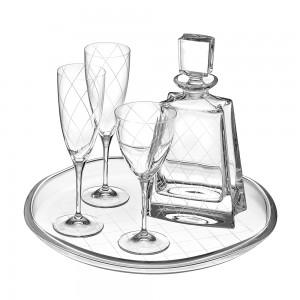 Σετ Γάμου 5τμχ Δίσκος | Καράφα | 2 Ποτήρια Σαμπάνιας | Ποτήρι Κολονάτο Κρασιού Κρύσταλλο Capolavoro (70)