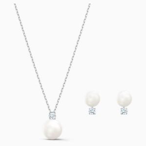 Swarovski Σετ Κολιέ-Σκουλαρίκια Επιπλατινωμένο Λευκό Treasure Pearl (5569758)