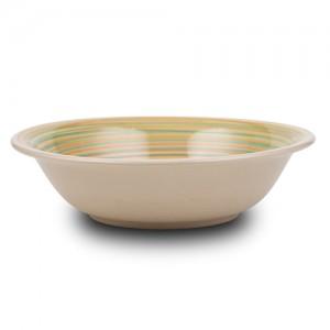 """Πιάτο σούπας stoneware """"Lines orange"""" 21cm 10-141-002"""