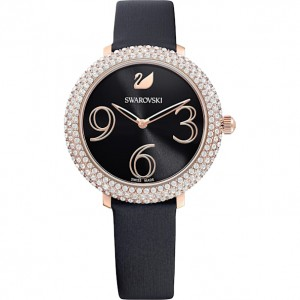 SWAROVSKI ΡΟΛΟΪ ΕΠΙΧΡΥΣΟ CRYSTAL FROST WATCH, LEATHER STRAP, BLACK, ROSE-GOLD TONE PVD 5484058
