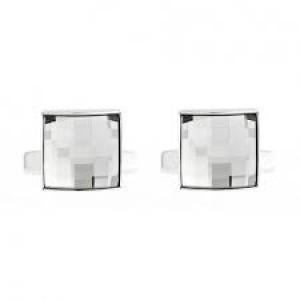 Swarovski Fasten Μανικετόκουμπα Επιπλατινωμένα Με Λευκά Κρύσταλλα (5060553)