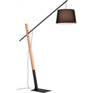 VIOKEF Φωτιστικό Δαπέδου Crane Μαύρο Μεταλλικό Με Λεπτομέρειες Σε Ξύλο, E27 4204100