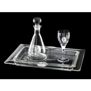 Σετ Γάμου 3 τεμ. Δίσκος,Καράφα,Ποτήρι Κρύσταλλο&Ασήμι (271)