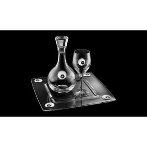 Σετ Γάμου 3τμχ, καράφα,ποτήρι,δίσκος με Ασήμι&Swarovski Σχέδιο Σπείρα(ΣΓ-ΙT 156957)