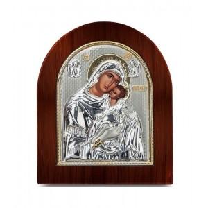 Ασημένια Εικόνα Παναγία Γλυκοφιλούσα Καμάρα Ξύλινη Prime Silver (SA202BG)