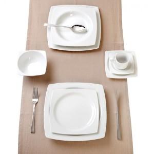 Σερβίτσιο Πιάτων 20 τεμαχίων Τετράγωνα Λευκά Quadro White Cryspo Trio