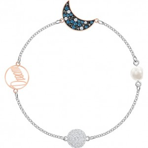 SWAROVSKI ΒΡΑΧΙΟΛΙ ΕΠΙΠΛΑΤΙΝΩΜΕΝΟ REMIX COLLECTION MOON STRAND, MULTI-COLORED, MIXED METAL FINISH 5490934