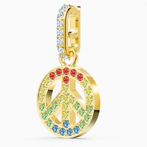 Swarovski Remix Collection Peace Charm, Light Multi-Colored, Gold-Tone Plated (5526998)