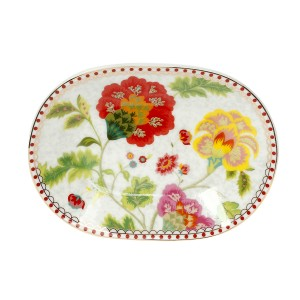 Σετ 6τμχ Πιάτο Πορσελάνινο Γλυκού Κουταλιού 12 Εκ. Floral Grey Cryspo Trio 1420177