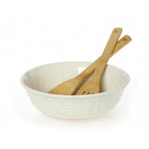 Σαλατιέρα Stoneware 26εκ Με Κουτάλες Bamboo Flower Cream 3705090