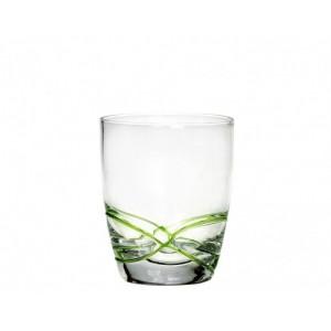 Σετ 6τμχ Χειροποίητα Ποτήρια Ουίσκυ με Ανάγλυφες Γραμμές Πράσινο 300ml Cryspo Trio X-Treme