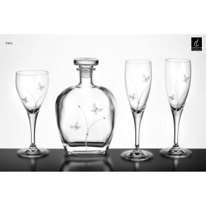 Σετ Γάμου 4 Τμχ Καράφα, Ποτήρι Κρασιού & 2 Ποτήρια Σαμπάνιας Capolavoro G24